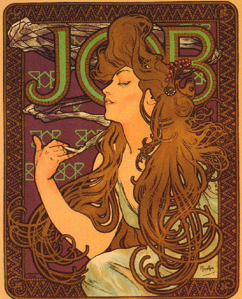 alphonse mucha cigarette job Alphonse mucha's poster for job cigarette papers is one of the most famous works in design history taking its cue from a new kind of female beauty, its modern girl has hair with a life of its own the tendrils look more like the floating tentacles of a jellyfish mucha saw a spiritual, even moral.