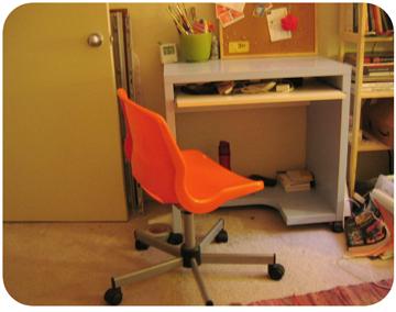 Ikea Desk  $15 Orange Chair $10